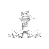 Venice citiy symbol San Marco. Winged lion label Royalty Free Stock Photos