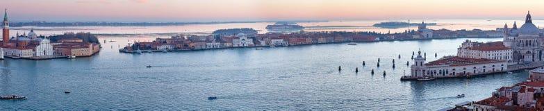 Venice city (Italy) sunset view. Panorama. Royalty Free Stock Image
