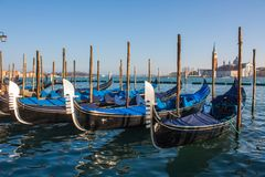Venice City of Italy.view on parked gondolas, famous Venetian transport Stock Image