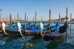 Venice City of Italy.view on parked gondolas, famous Venetian transport.  Stock Image