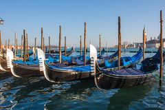 Venice City of Italy.view on parked gondolas, famous Venetian transport Royalty Free Stock Photo