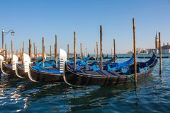 Venice City of Italy.view on parked gondolas, famous Venetian transport.  Stock Photo