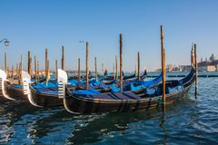 Venice City of Italy.view on parked gondolas, famous Venetian transport Royalty Free Stock Photos
