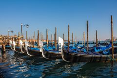 Venice City of Italy.view on parked gondolas, famous Venetian transport Stock Photo