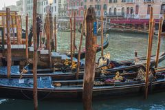 Venice City of Italy.view on parked gondolas, famous Venetian transport Stock Photography