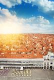 Venice city panorama from above. San Marco square and Venice city panorama on sunrise on summer day from above Stock Photography