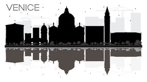 Venice City skyline black and white silhouette with reflection. Stock Images