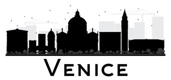 Venice City skyline black and white silhouette. Stock Images