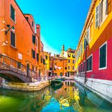 Venice cityscape, buildings, water canal and bridge. Italy. Venice cityscape, water canal, bridge and traditional buildings. Italy, Europe Royalty Free Stock Photos