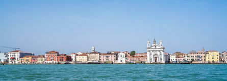 Venice cityscape in panorama, view from the sea Stock Images