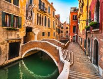Venice cityscape, buildings, water canal and bridge. Italy Stock Image