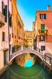 Venice cityscape, buildings, water canal and bridge. Italy. Venice cityscape, water canal, bridge and traditional buildings. Italy, Europe Stock Photo