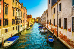 Venice cityscape, water canal, bridge and traditional old buildi Royalty Free Stock Image