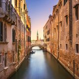 Venice cityscape, water canal, campanile church and bridge. Ital Royalty Free Stock Photography