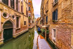 Venice cityscape, water canal, campanile church and traditional Royalty Free Stock Images