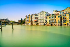 Venice cityscape, water grand canal, accademia bridge and traditional buildings. Italy. Stock Images