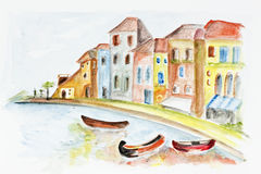 Venice concept. Naive children simple watercolor of Venice concept- handmade watercolor painting illustration on a white paper art background Royalty Free Stock Image