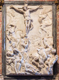 Venice - The Crucifixion relief by Francesco Penso (Cabianca -1711) from sacristy of church Santa Maria Gloriosa dei Frari. Stock Photography