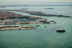 Venice Cruise Ship Dock, Aerial View Stock Photos