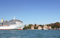 Venice, cruise ship 1. Cruise ship sailing in the Venetian Lagoon Royalty Free Stock Photo