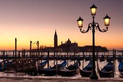 Venice dawn. Gondolas and San Giorgio Maggiore, Venice at dawn Stock Image