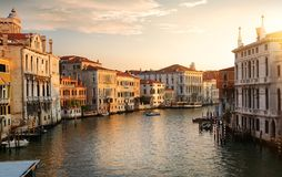 Venice at the dawn. Grand Canal in Venice at the dawn, Italy stock photo