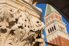 Venice - Detail from capital of Doge palace and bell tower Stock Image