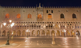 Venice - Doge palace at night. Venice - Doge palace and Piazza san Marco at night royalty free stock image