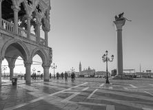 Venice - Doge palace and Saint Mark square and San Giorgio Maggiore church in background in morning light. Stock Photo