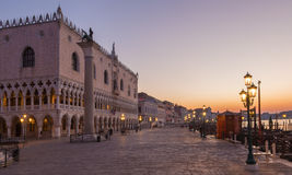 Venice - Doge palace and and waterfront in morning dusk. Stock Images