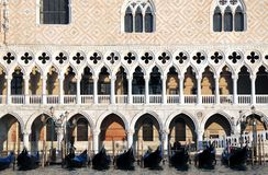 VENICE Doge's Palace and gondolas Stock Photo