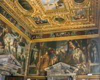 Venice. The Doge`s Palace, the Hall of the College. Italy, Venice. The Doge`s Palace, the Hall of the College was intended for meetings of the College of Sages stock photos
