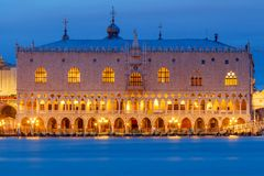 Venice. Doge's Palace at night. royalty free stock photography