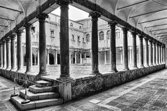 Venice Doges palace courtyard BW. Inner courtyard of historic walthy italian palaces - Doge's palace in Venice city of ancien republic. Empty space surrounded by Stock Photography
