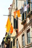 Venice Domestic Life. A house in Venice, Italy with the laundry hanging outside to dry Stock Image