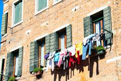 Venice Domestic Life. A house in Venice, Italy with the laundry hanging outside to dry Royalty Free Stock Photography