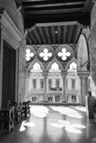 Venice Ducal Palace. Interior view in black and white Stock Photo