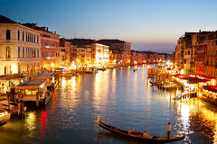 Venice at dusk. Beautiful Grand canale at dusk in Venice. View from Rialto Bridge Royalty Free Stock Photography