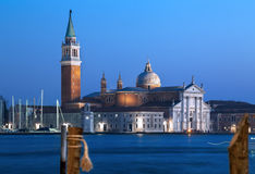 Venice at dusk. Blue sky and sea after sunset. Stock Photo