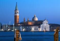 Venice at dusk. Blue sky and sea after sunset. San Giorgio Maggiore church stock photo