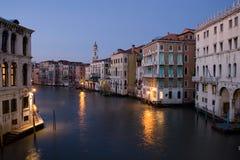 Venice at dusk. Canal in Venice, Italy at dusk stock photo