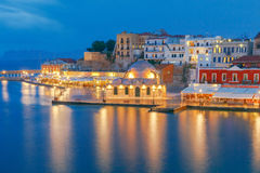Venice embankment in the old harbor of Chania. Stock Photography