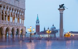 Venice evening city view of Square Piazza San Marco, Doge`s Pala stock photo