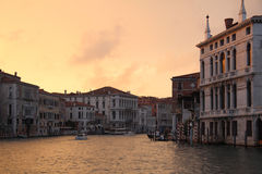 Venice - the evening on the Grand Canal. Venice - the pretty evening on the Grand Canal Royalty Free Stock Photography