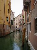 One of the many canals with beautiful old houses in Venice, Italy stock image