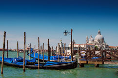 Venice with famous gondolas on Canal Grande , Italy Royalty Free Stock Photos