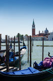 Venice with famous gondolas on the Venetian Lagoon , Italy Royalty Free Stock Photo