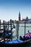 Venice with famous gondolas on the Venetian Lagoon , Italy Royalty Free Stock Photo