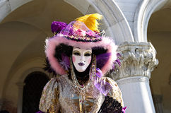 Venetian costume attends Carnival of Venice. Stock Image