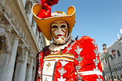 Venetian costume attends Carnival of Venice. Stock Images